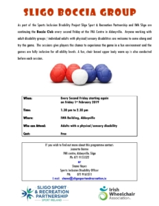 Boccia Programme @ Irish Wheelchair Association